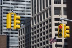 Traffic lights on the streets of Manhattan Stock Photos