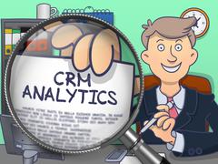 CRM Analytics through Lens. Doodle Design - stock illustration