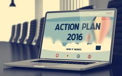 Action Plan 2016 - on Laptop Screen. Closeup Piirros