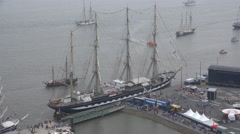 4k High angle view russian tall ship Kruzenshtern in Bremerhaven harbor Stock Footage