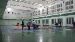 Preparations for the competition: the installation of the mat tatami (timelaps) Stock Footage