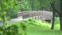 Park bridge - morning walk with hikers Stock Footage