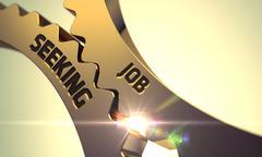 Job Seeking on Golden Metallic Cog Gears - stock illustration