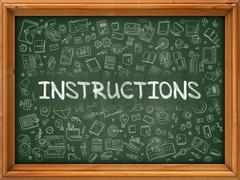 Instructions Concept. Green Chalkboard with Doodle Icons - stock illustration