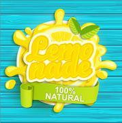 Lemonade label splash. - stock illustration