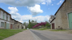 Desert street in a french coutry village - Sunny summer day - France - Panoramic Stock Footage
