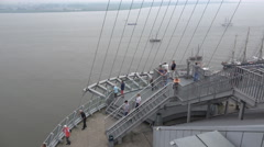 4k High angle view people on sightseeing platform Bremerhaven harbor Stock Footage