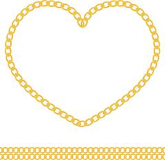 Jewelry golden chain of heart shape vector Stock Illustration