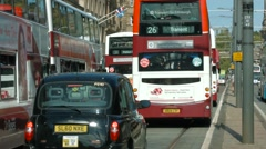 Traffic on Princes street, Edinburgh Stock Footage