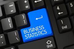 Blue Business Statistics Button on Keyboard - stock illustration