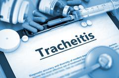 Tracheitis Diagnosis. Medical Concept. Composition of Medicament Stock Illustration