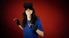 Virtual reality woman discovery amazed - stock footage