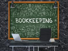 Chalkboard on the Office Wall with Bookkeeping Concept - stock illustration
