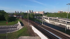 Moving locomotive train on the bridge near the junction Stock Footage