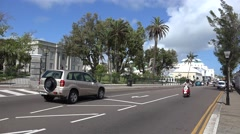 Road traffic at Front street with the Cabinet Building on background. Hamilton Stock Footage