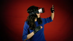 Virtual reality woman discovery experience Stock Footage