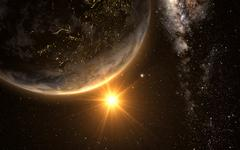 Earth with Sunrise from space Stock Illustration