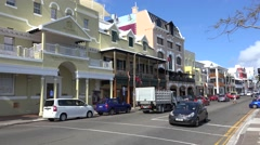 Road traffic at Front street opposite the Butterfield Bank. Hamilton, Bermuda Stock Footage