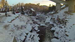Drone shot of a spa resort covered in snow. Stock Footage