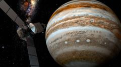 Jupiter and satellite juno, 3D rendering. Stock Illustration