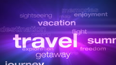 Travel and Vacation Words Loop - stock footage