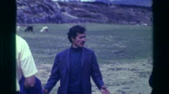 1977: Archaeological explore tour guide Saksaywaman historic Inca ancient ruins. Stock Footage