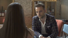 A couple on an intimate dinner. To discuss. Stock Footage