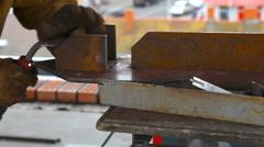 Worker welding in a factory. Welding on an industrial plant. Stock Footage