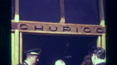 1977: Machu Picchu bus depot entrance conductors tourists start adventure. Stock Footage