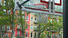 BasketBall goal Backboard in Manhattan New York City During the Summer Stock Footage