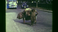 1977: Poor homeless vagabond man pulling cart of belongings on busy streets. RIO Stock Footage