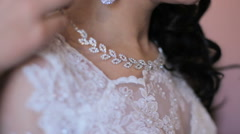 bride dress necklace on the wedding day - stock footage