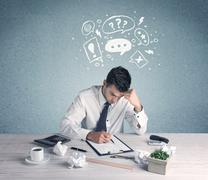 Business person in doubt and confused Stock Photos