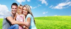 Happy family with kids Stock Photos