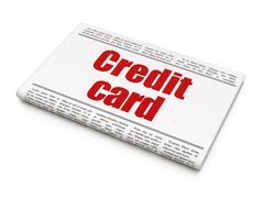 Money concept: newspaper headline Credit Card - stock illustration
