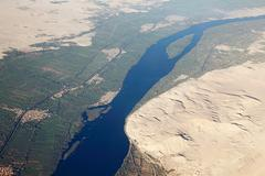 Aerial view of river nile near aswan - stock photo