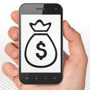 Banking concept: Hand Holding Smartphone with Money Bag on display - stock illustration