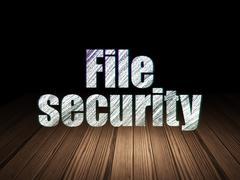 Safety concept: File Security in grunge dark room - stock illustration