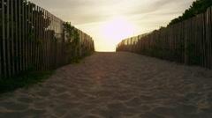 Miami Florida South Beach Fence Sand Sunrise 5K Stock Video Footage Stock Footage