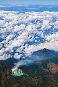 Aerial photo of active volcano Ijen in East Java - stock photo