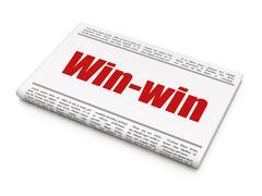 Finance concept: newspaper headline Win-Win - stock illustration