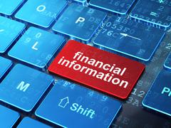 Business concept: Financial Information on computer keyboard background - stock illustration