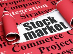 Finance concept: black text Stock Market under the piece of  torn paper - stock illustration