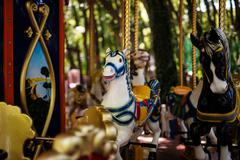 Carousel with Horses on a carnival Merry Go Round Kuvituskuvat