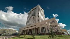 Government Building against the blue sky and clouds, view from below. Kazakhstan Stock Footage