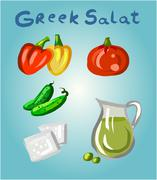 Greek salad and its ingredients. - stock illustration