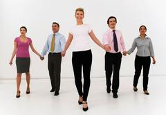 Five business people move forward Stock Photos