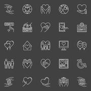 Charity and donation icons - stock illustration