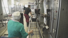 Workers at factory for production and packaging of dairy products Stock Footage