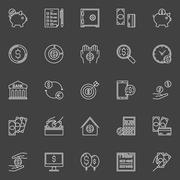 Money economy line icons - stock illustration
